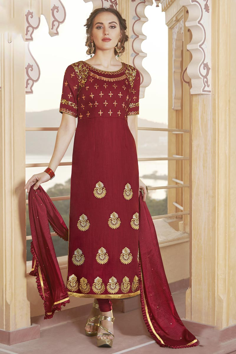 Maroon Color Party Wear Trendy Embroidered Straight Cut Suit In Chanderi