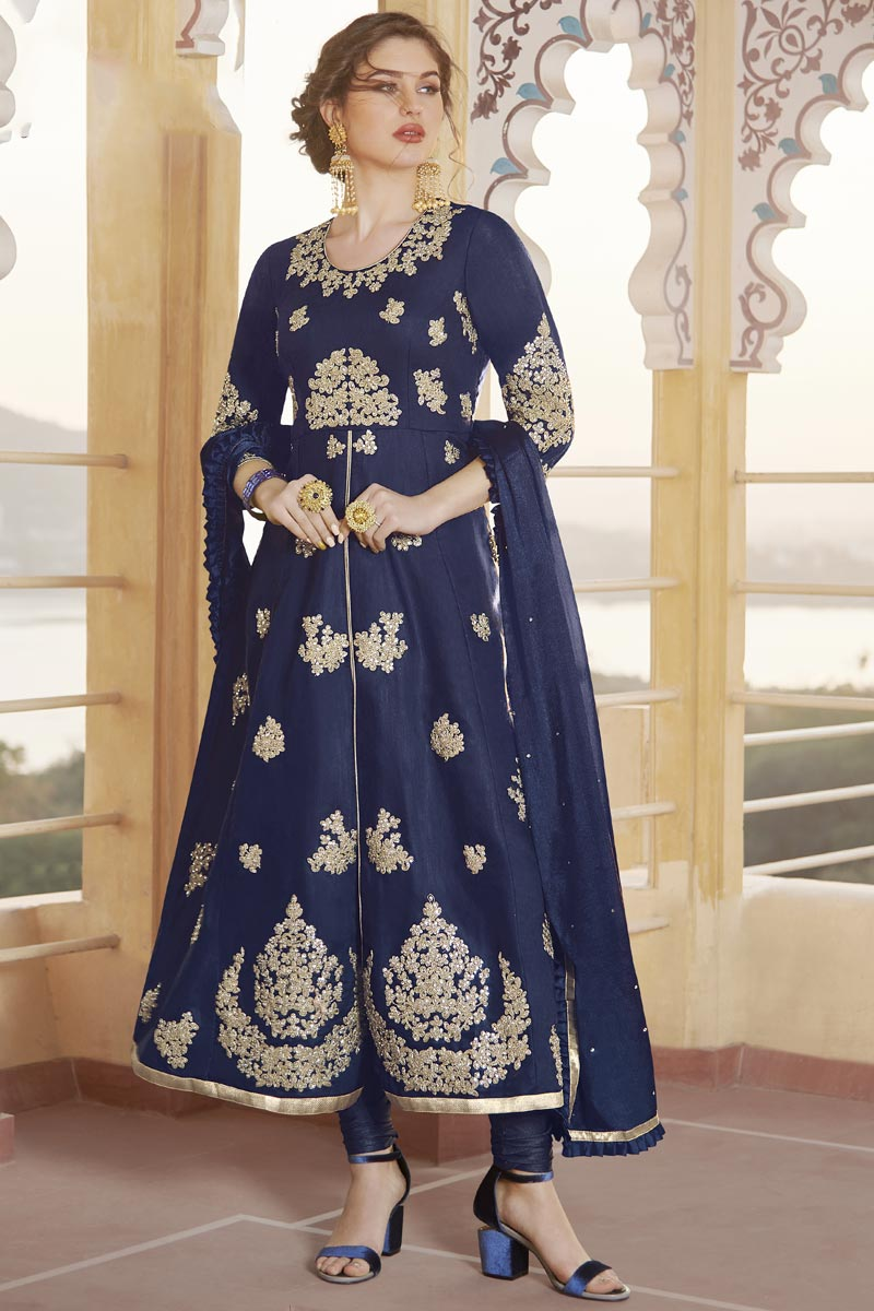 Party Wear Navy Blue Color Chanderi Trendy Embroidered Straight Cut Dress