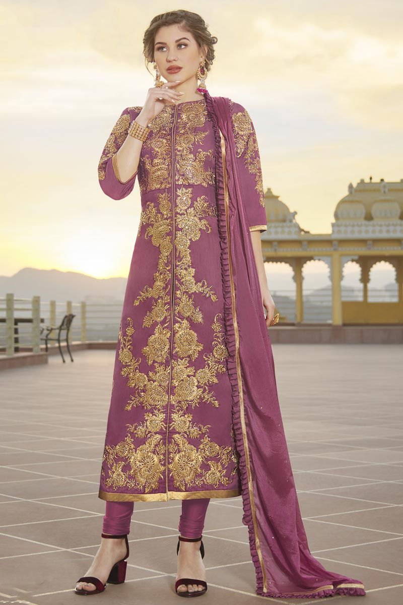 Chanderi Party Wear Trendy Embroidered Straight Cut Suit In Pink Color