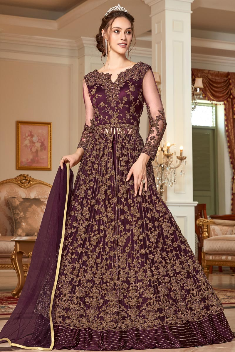 Net Fabric Function Wear Wine Color Embroidered Anarkali Dress