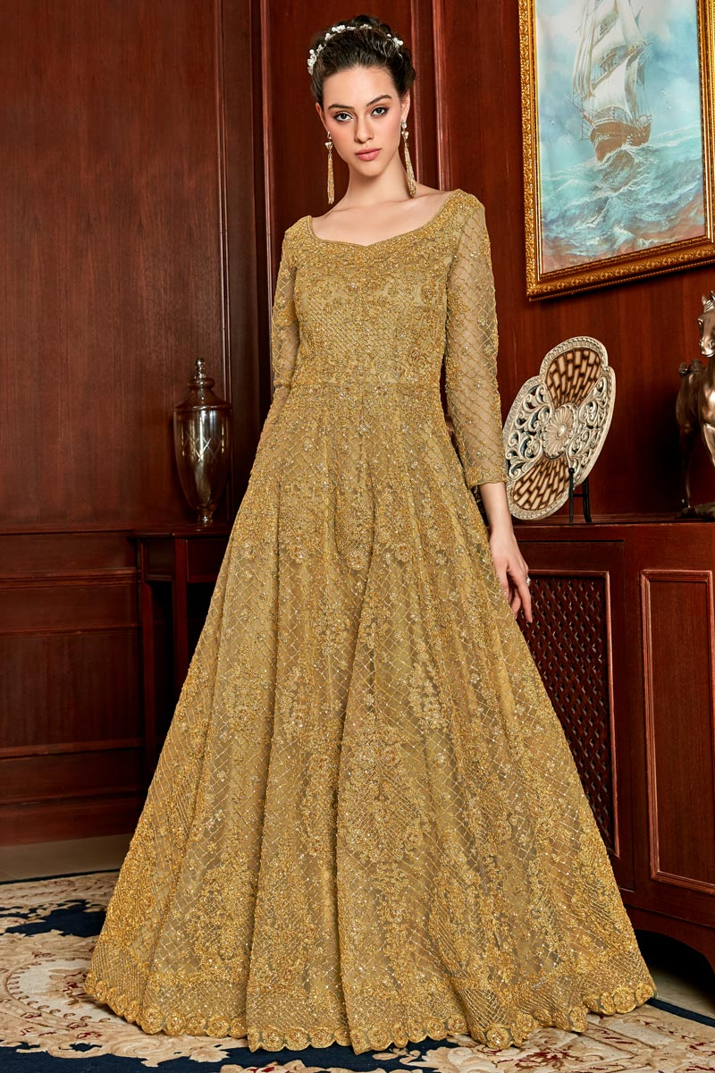 Function Wear Coffee Color Net Fabric Embroidered Anarkali Suit