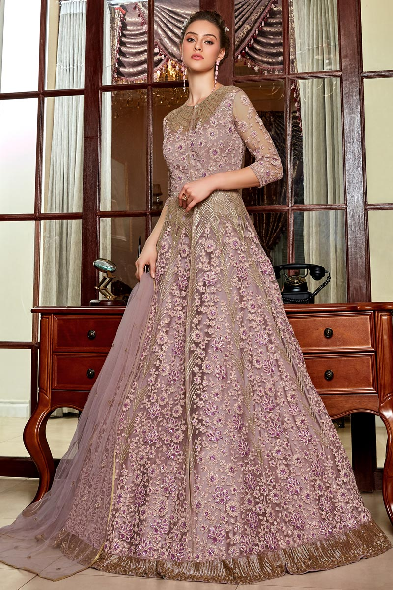 Net Fabric Pink Color Function Wear Embroidered Anarkali Dress