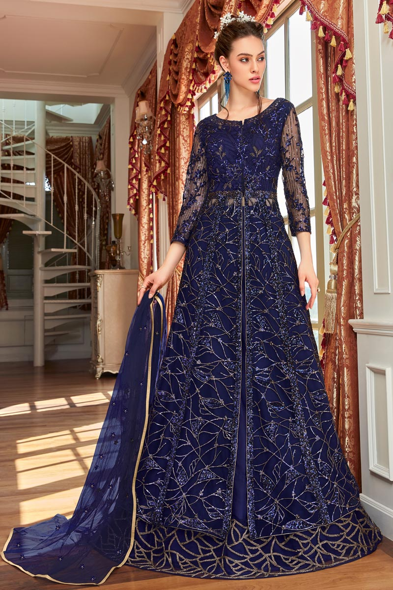 Function Wear Navy Blue Color Embroidered Anarkali Suit In Net Fabric