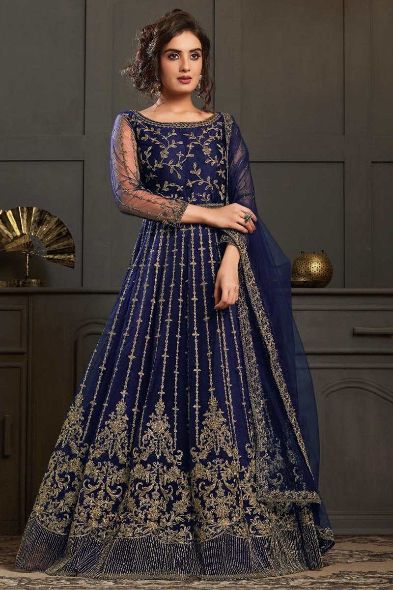 Net Fabric Party Style Navy Blue Color Elegant Embroidered Anarkali Suit
