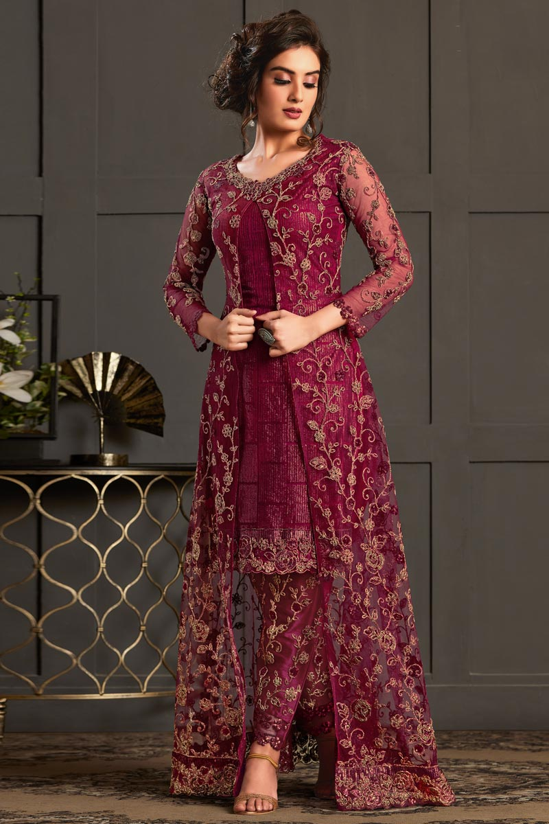 Burgundy Color Net Fabric Party Style Elegant Embroidered Straight Cut Dress
