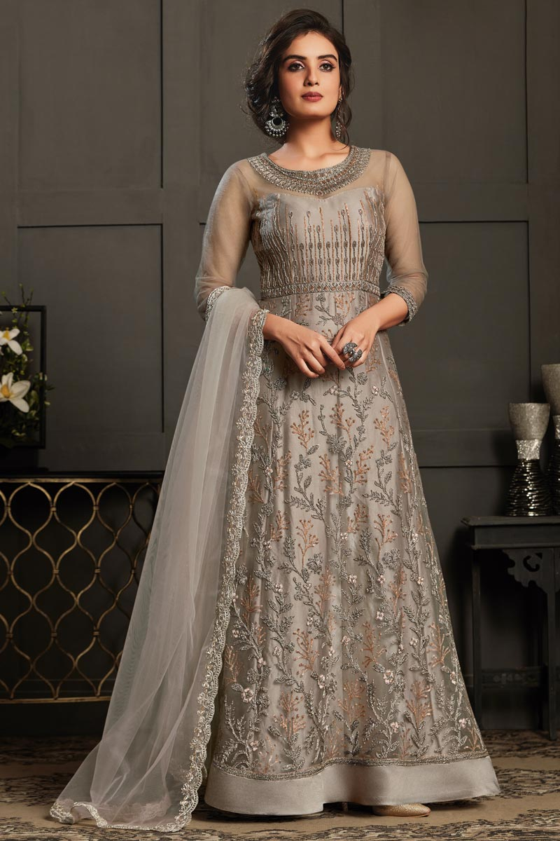 Party Style Net Fabric Cream Color Elegant Embroidered Anarkali Suit