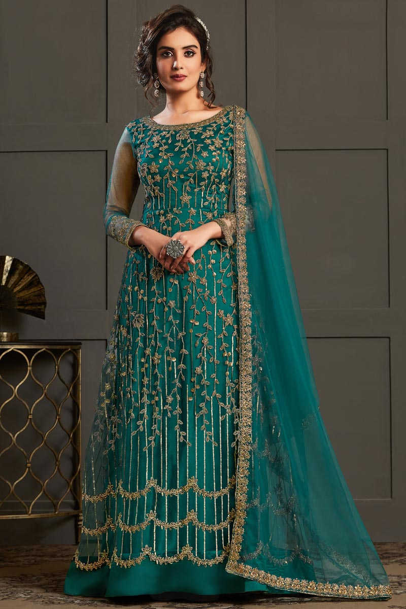 Teal Color Party Style Elegant Embroidered Net Fabric Anarkali Suit