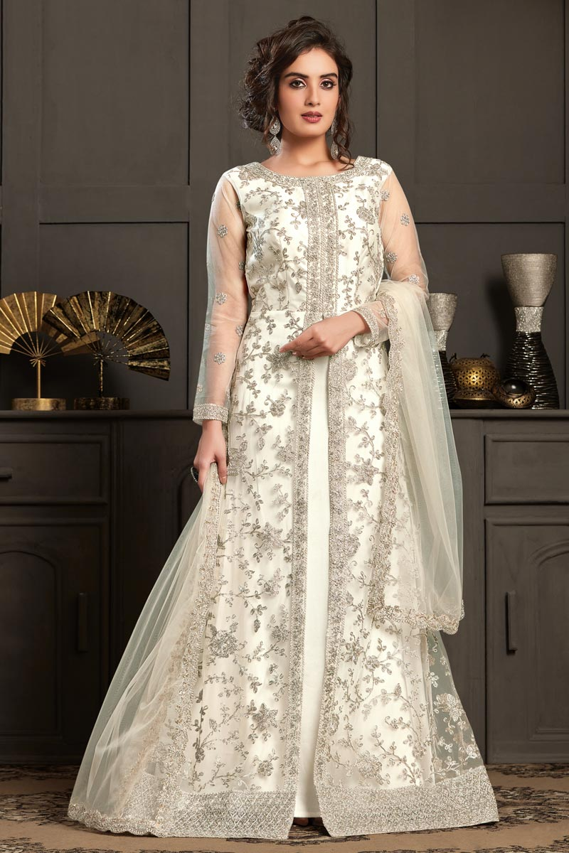 Off White Color Party Style Net Fabric Elegant Embroidered Anarkali Suit