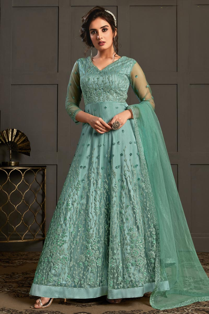 Net Fabric Cyan Color Party Style Elegant Embroidered Anarkali Dress