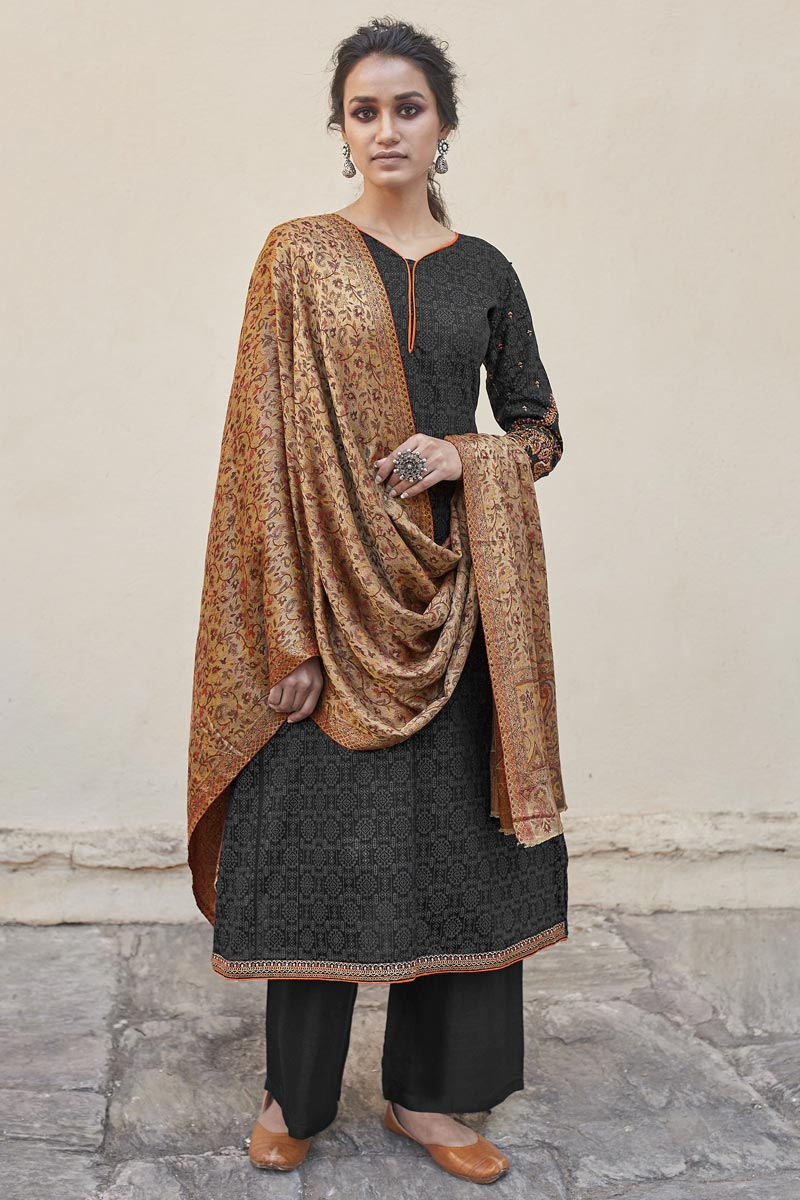 Black Color Casual Wear Fancy Embroidered Cotton Fabric Palazzo Suit