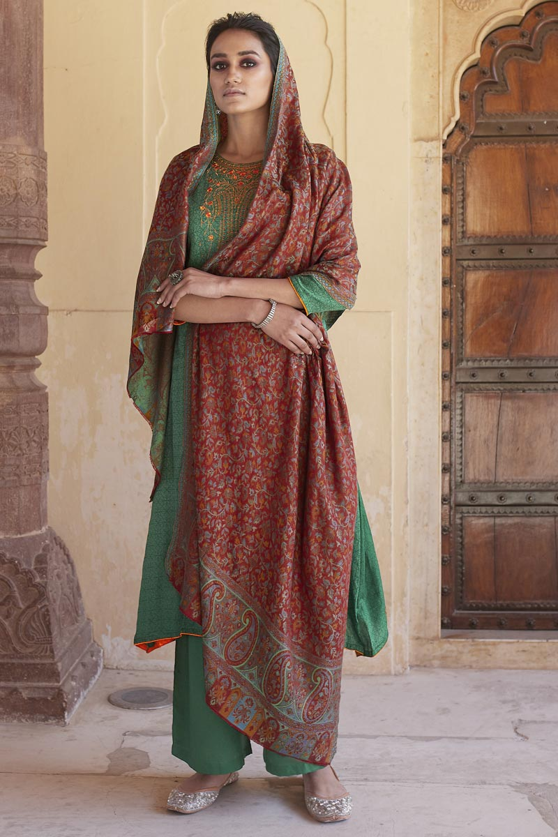 Sea Green Color Cotton Fabric Casual Wear Fancy Embroidered Palazzo Dress