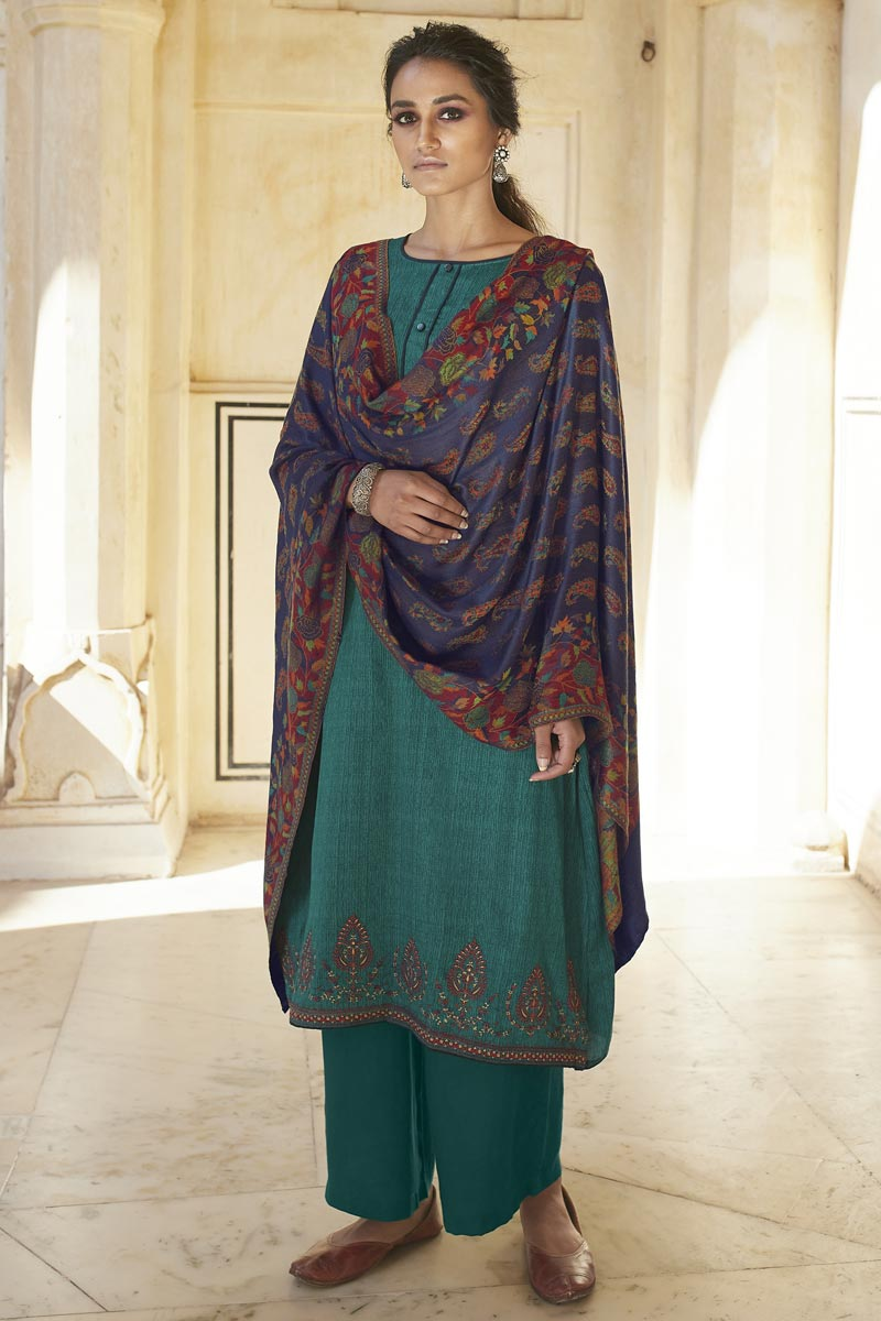 Cotton Fabric Casual Wear Fancy Embroidered Palazzo Dress In Teal Color