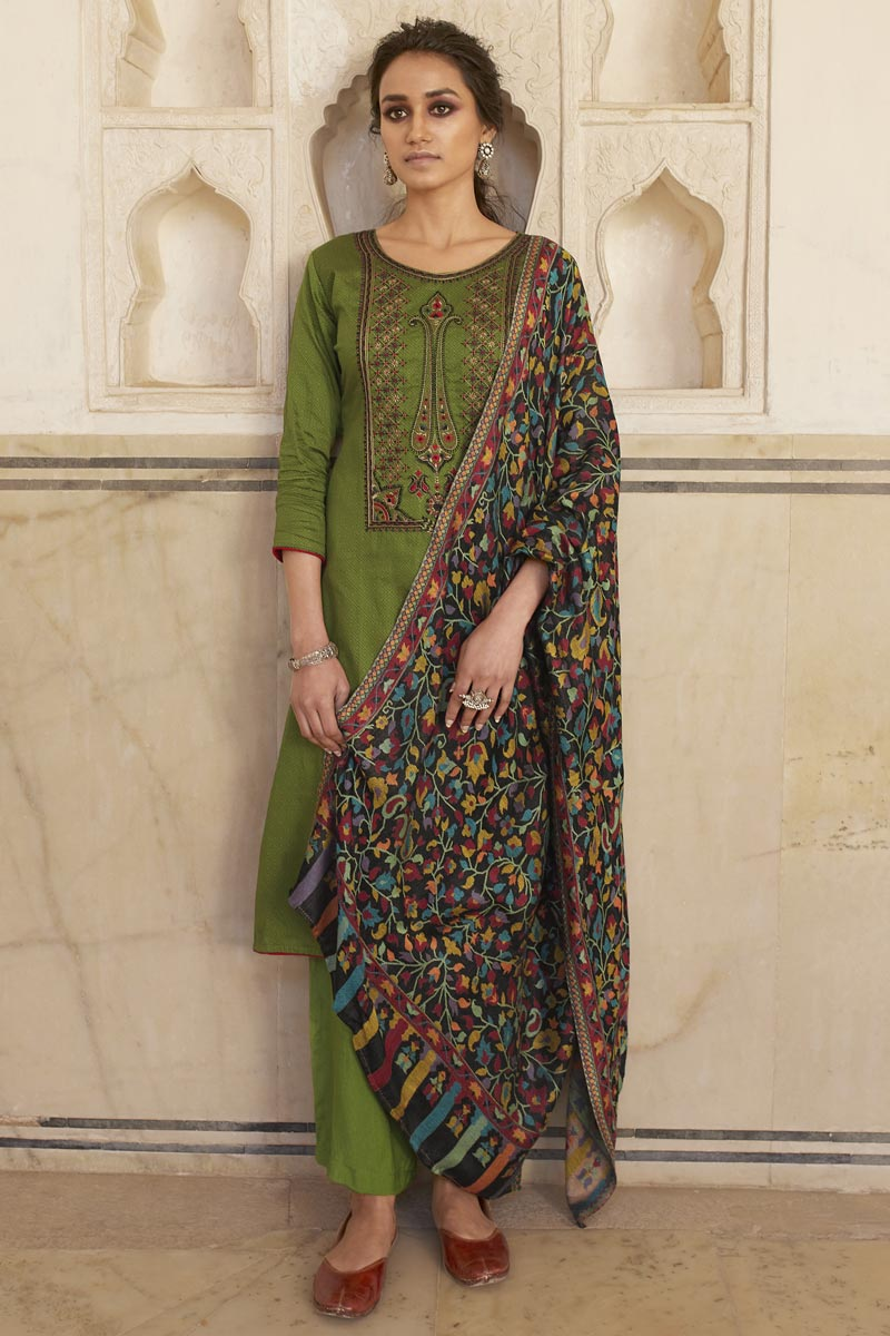 Casual Wear Cotton Fabric Green Color Fancy Embroidered Palazzo Suit