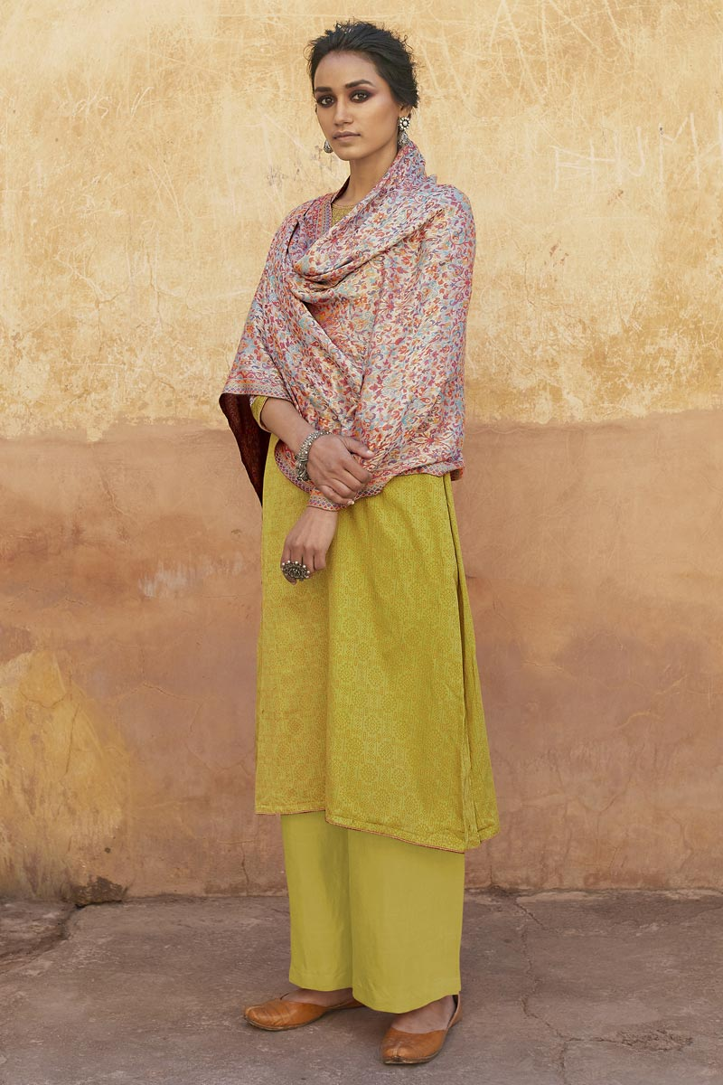 Cotton Fabric Casual Wear Fancy Embroidered Yellow Color Palazzo Suit