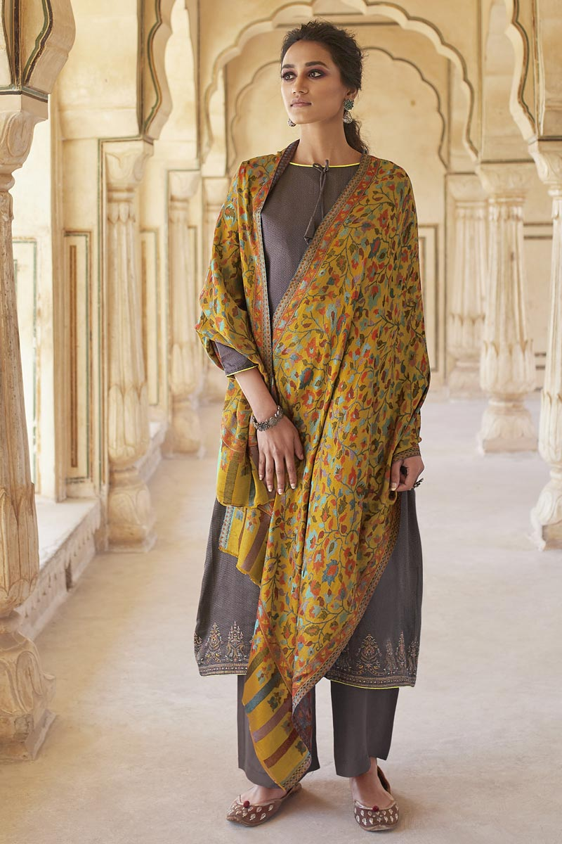 Cotton Fabric Casual Wear Fancy Embroidered Dark Beige Color Palazzo Dress