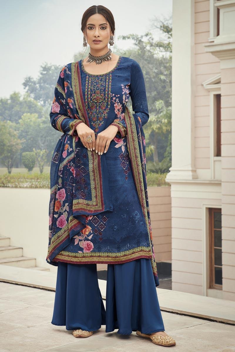 Crepe Fabric Navy Blue Color Embroidery Work Salwar Kameez