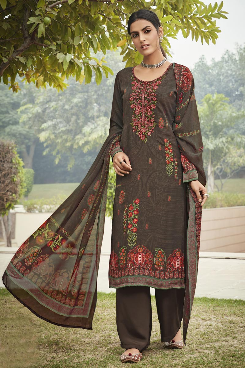 Crepe Fabric Occasion Wear Brown Color Embroidery Work Salwar Kameez