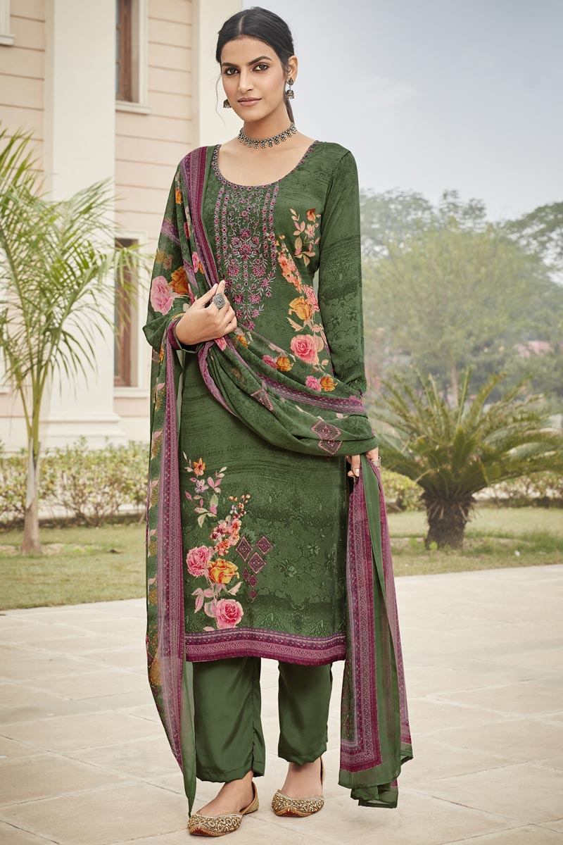 Embroidery Work Mehendi Green Color Crepe Fabric Salwar Suit