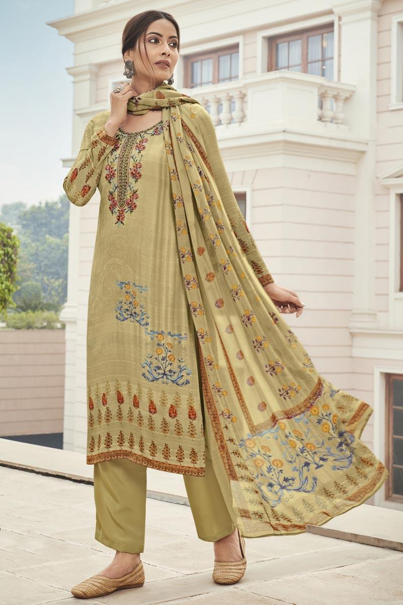 Crepe Fabric Beige Color Casual Salwar Kameez