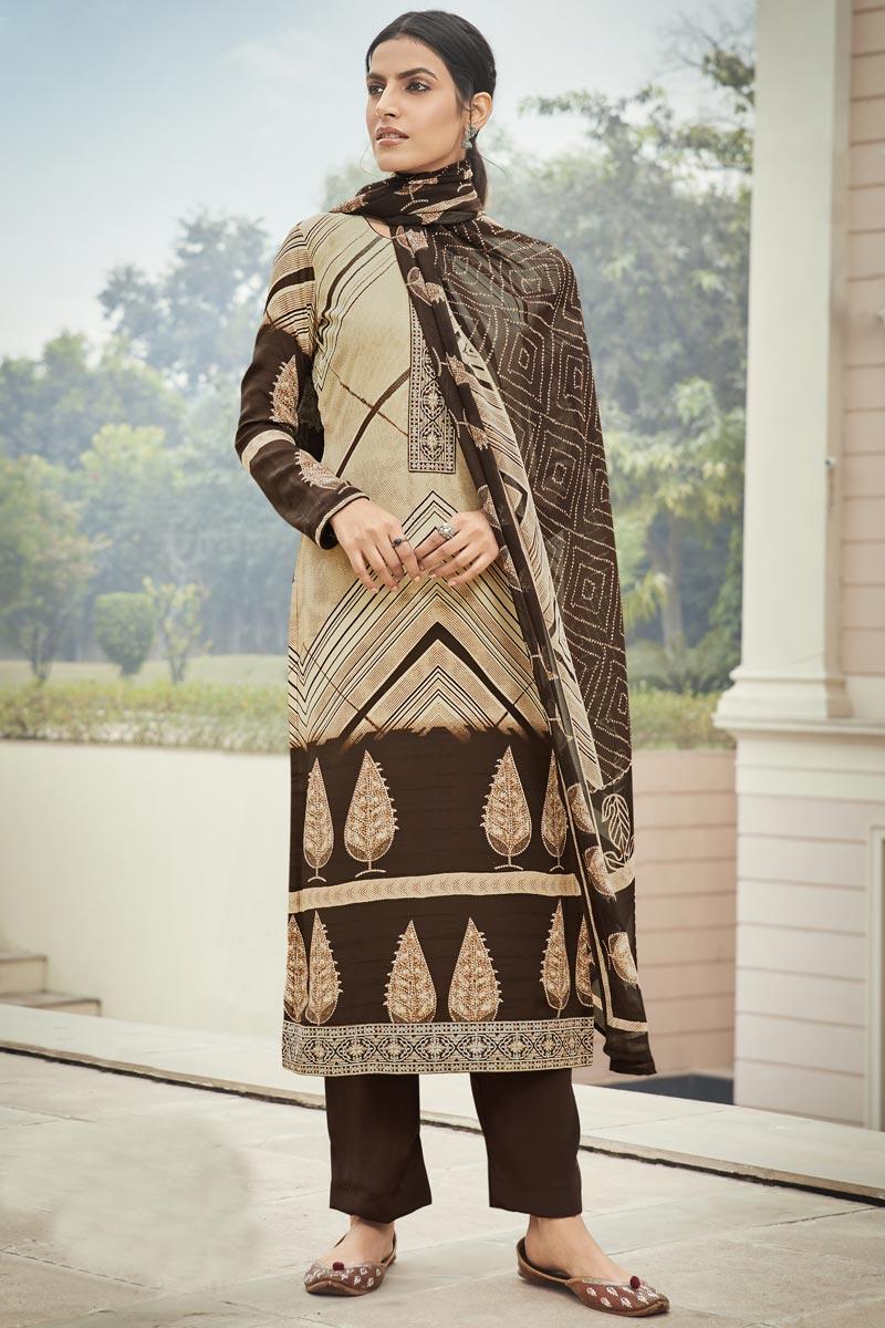 Beige Color Embroidery Work Crepe Fabric Office Wear Salwar Kameez