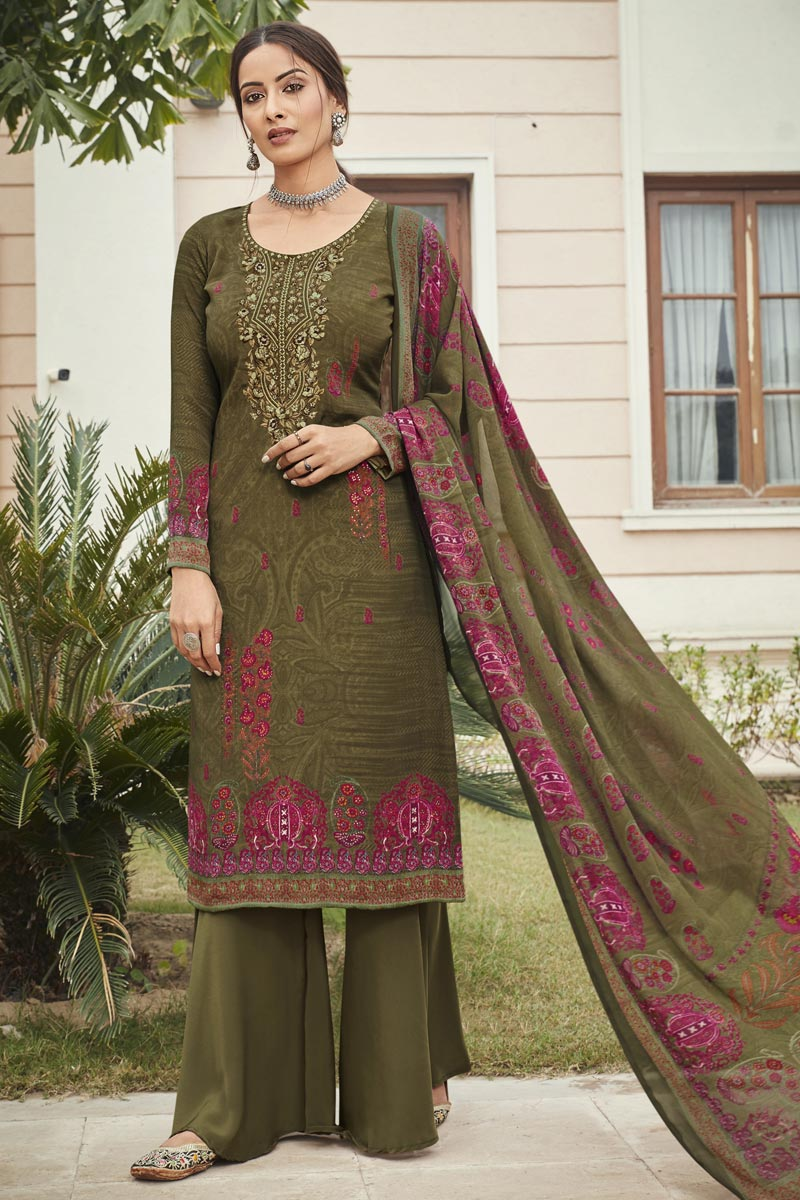 Embroidery Work Designs Mehendi Green Color Crepe Fabric Casual Wear Salwar Suit