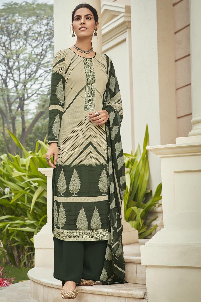 Crepe Fabric Beige Color Office Wear Salwar Kameez