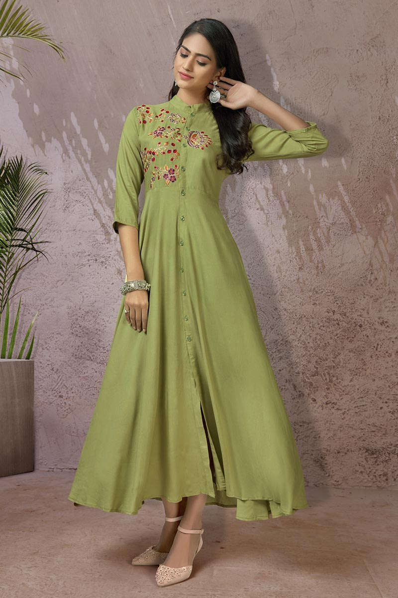 Fancy Casual Wear Green Color Rayon Fabric Kurti