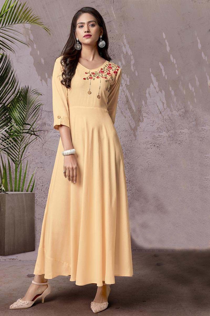 Beige Color Daily Wear Kurti In Rayon Fabric