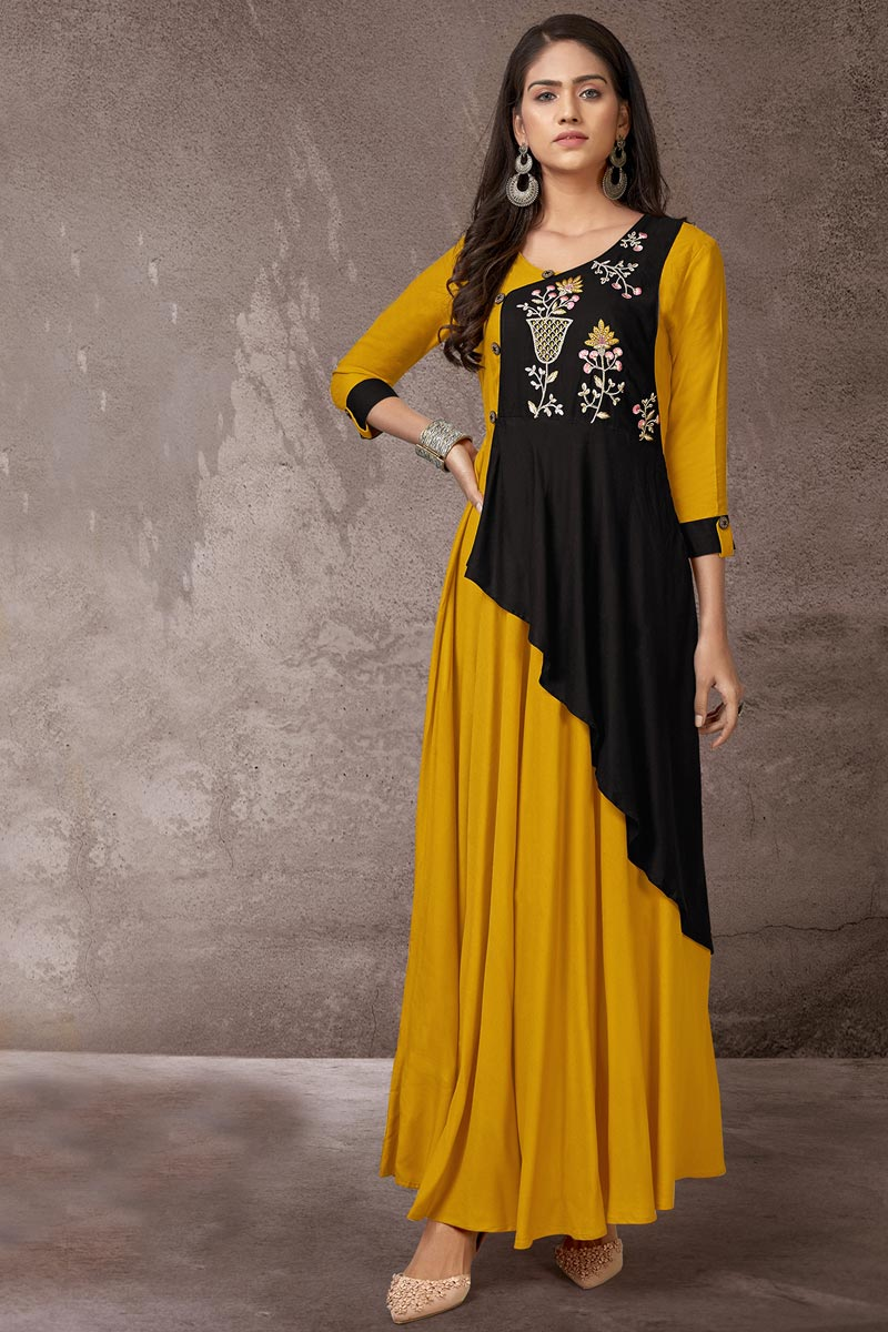 Rayon Fabric Black And Mustard Color Daily Wear Simple Kurti