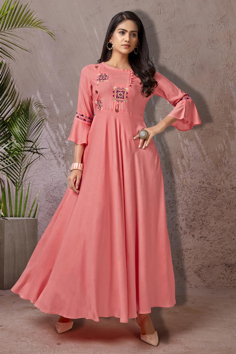 Stylish Pink Color Daily Wear Simple Kurti In Rayon Fabric