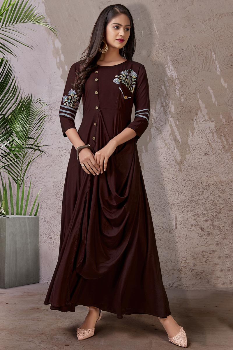 Rayon Fabric Brown Color Function Wear Simple Kurti
