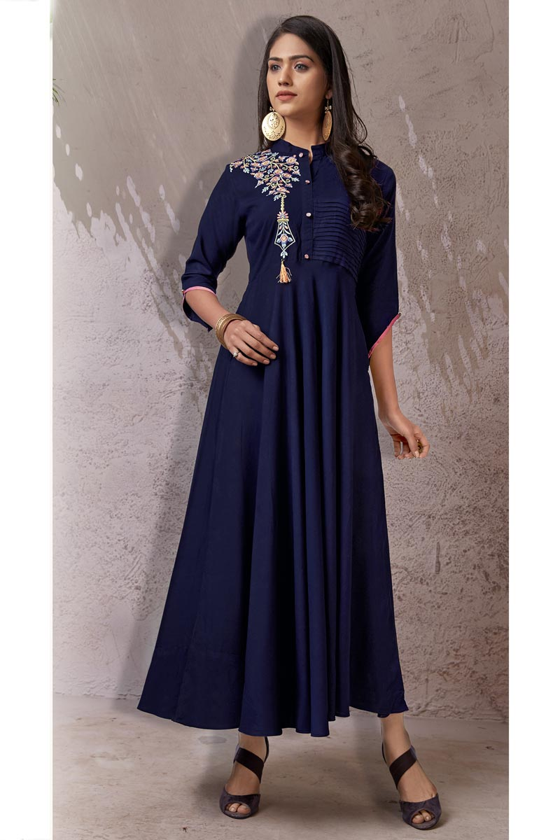 Navy Blue Color Function Wear Kurti In Rayon Fabric
