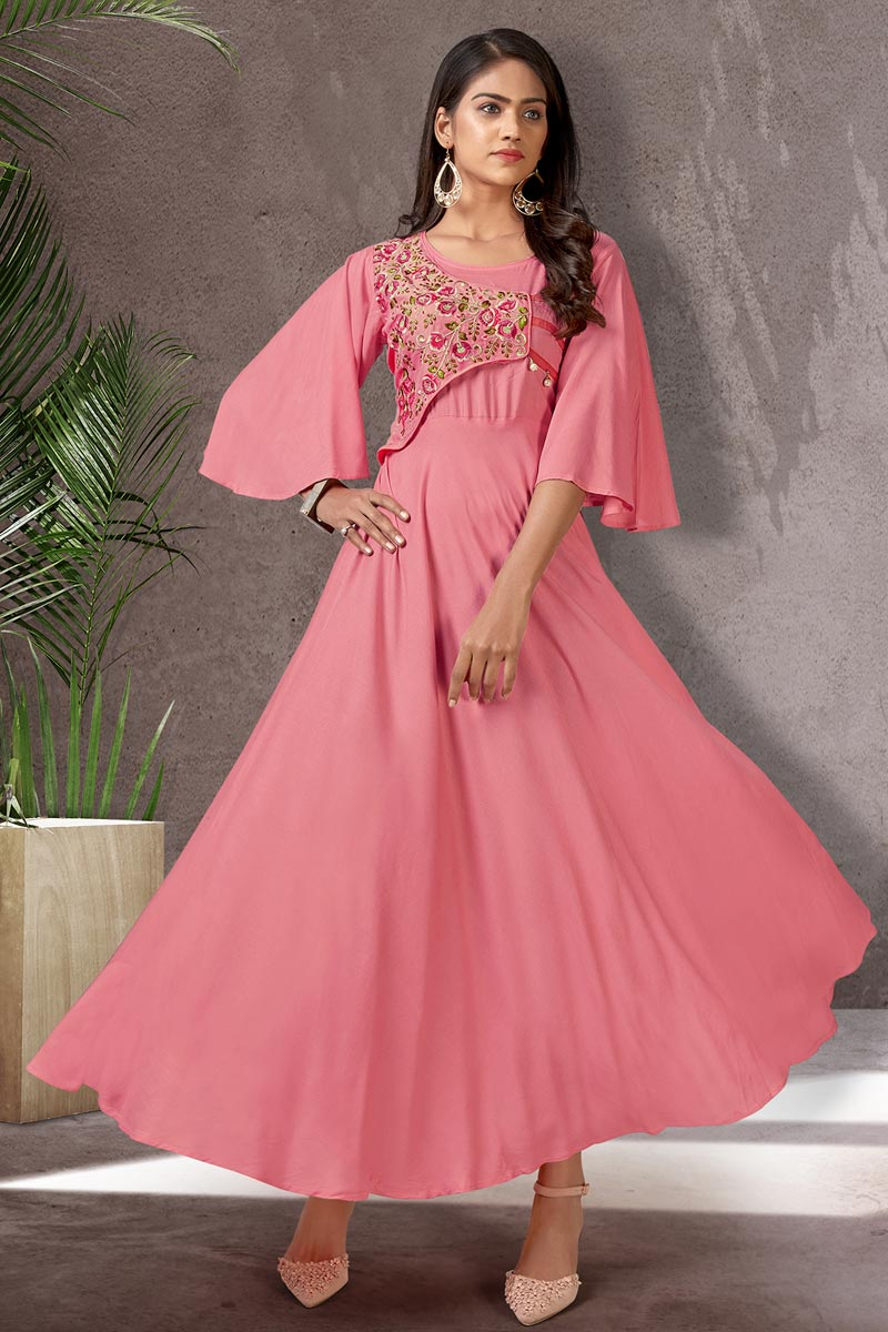 Stylish Pink Color Function Wear Simple Kurti In Rayon Fabric