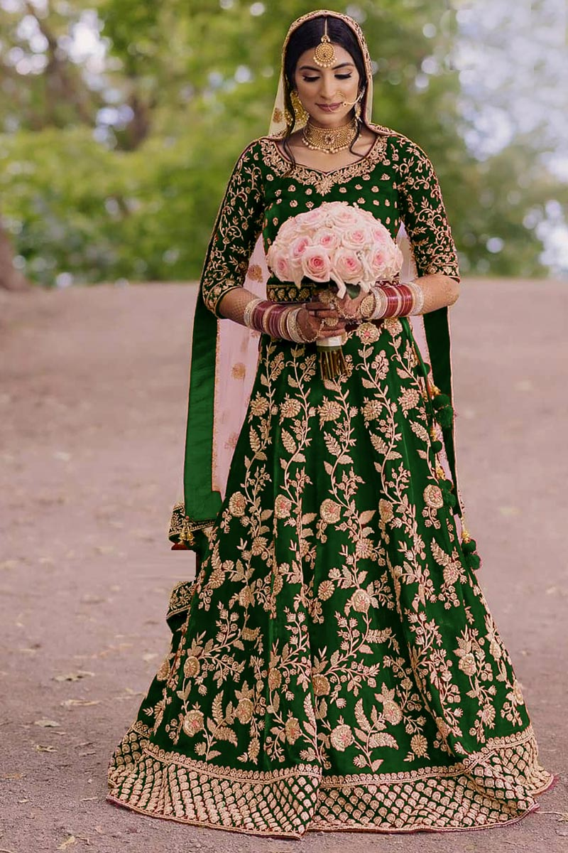 Velvet Fabric Green Color Festive Wear Floor Touch Anarkali Salwar Kameez