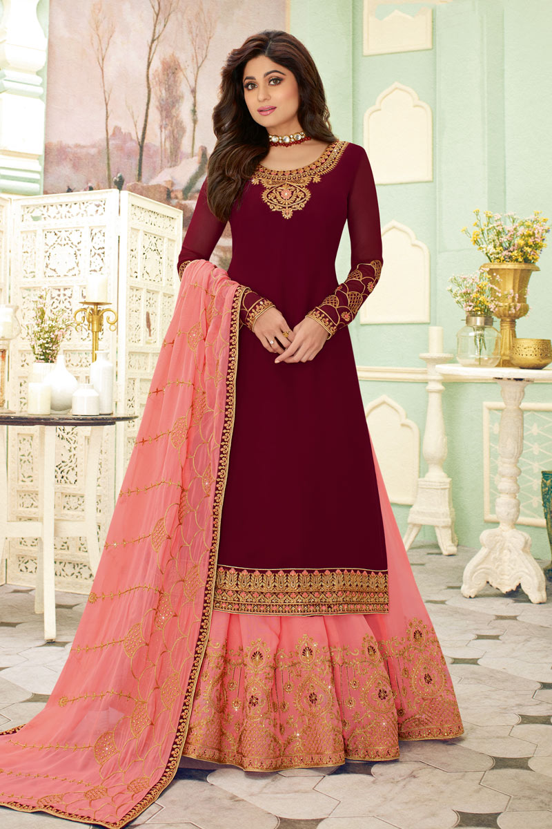 Eid Special Shamita Shetty Featuring Soothing Georgette Fabric Designer 3 Piece Sharara Top Lehenga In Maroon Color