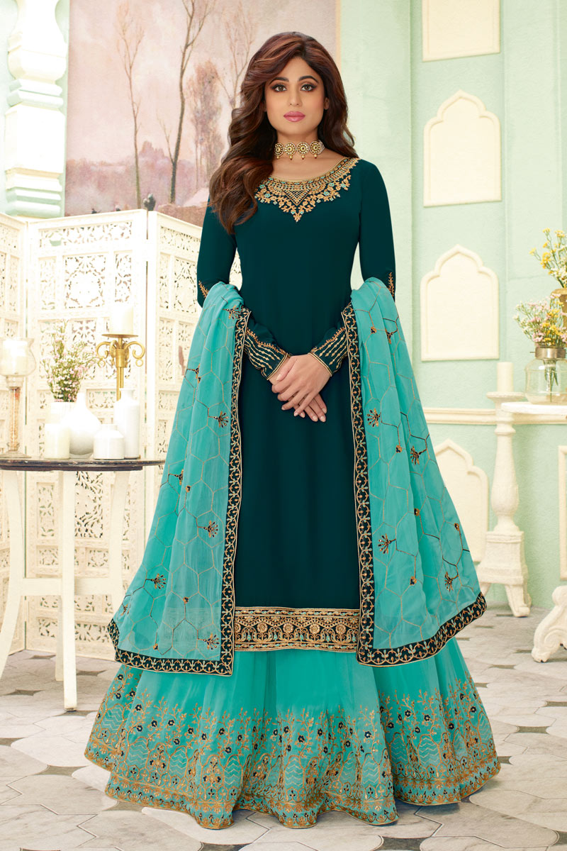 Shamita Shetty Featuring Embroidery Work On Teal Color Designer 3 Piece Sharara Top Lehenga In Georgette Fabric