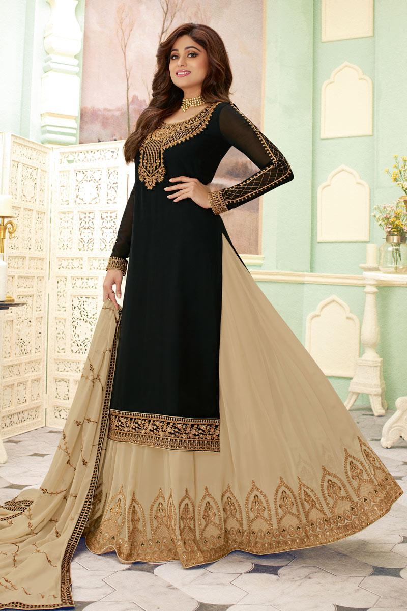 Eid Special Shamita Shetty Featuring Black Color Georgette Fabric Reception Wear 3 Piece Sharara Top Lehenga