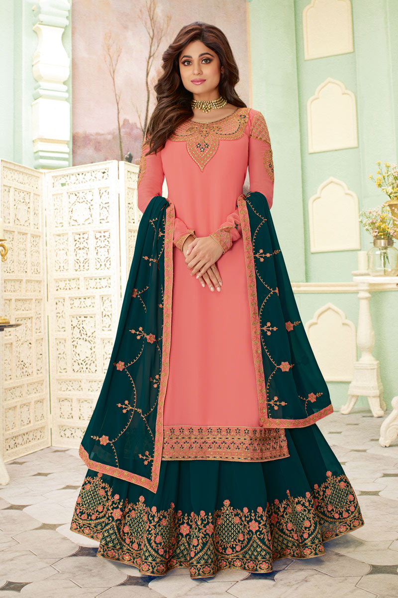 Eid Special Shamita Shetty Featuring Designer Sharara Top Lehenga In Pink Color Georgette Fabric With Embroidery Work