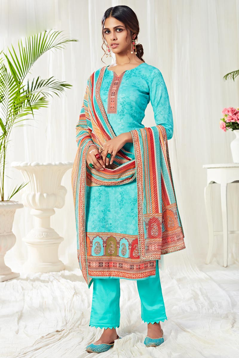 Casual Wear Cyan Color Classic Printed Straight Cut Suit In Cotton Fabric