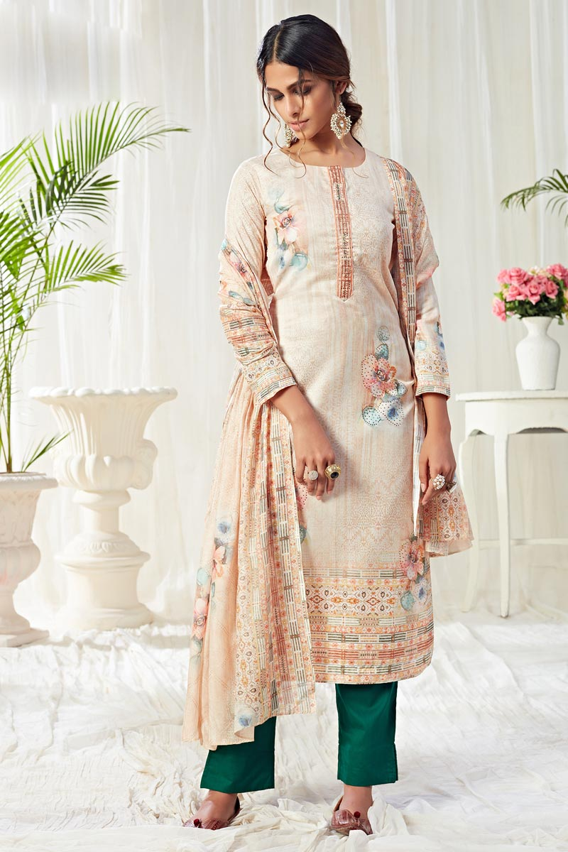 Cotton Fabric Casual Wear Classic Printed Straight Cut Cream Color Suit