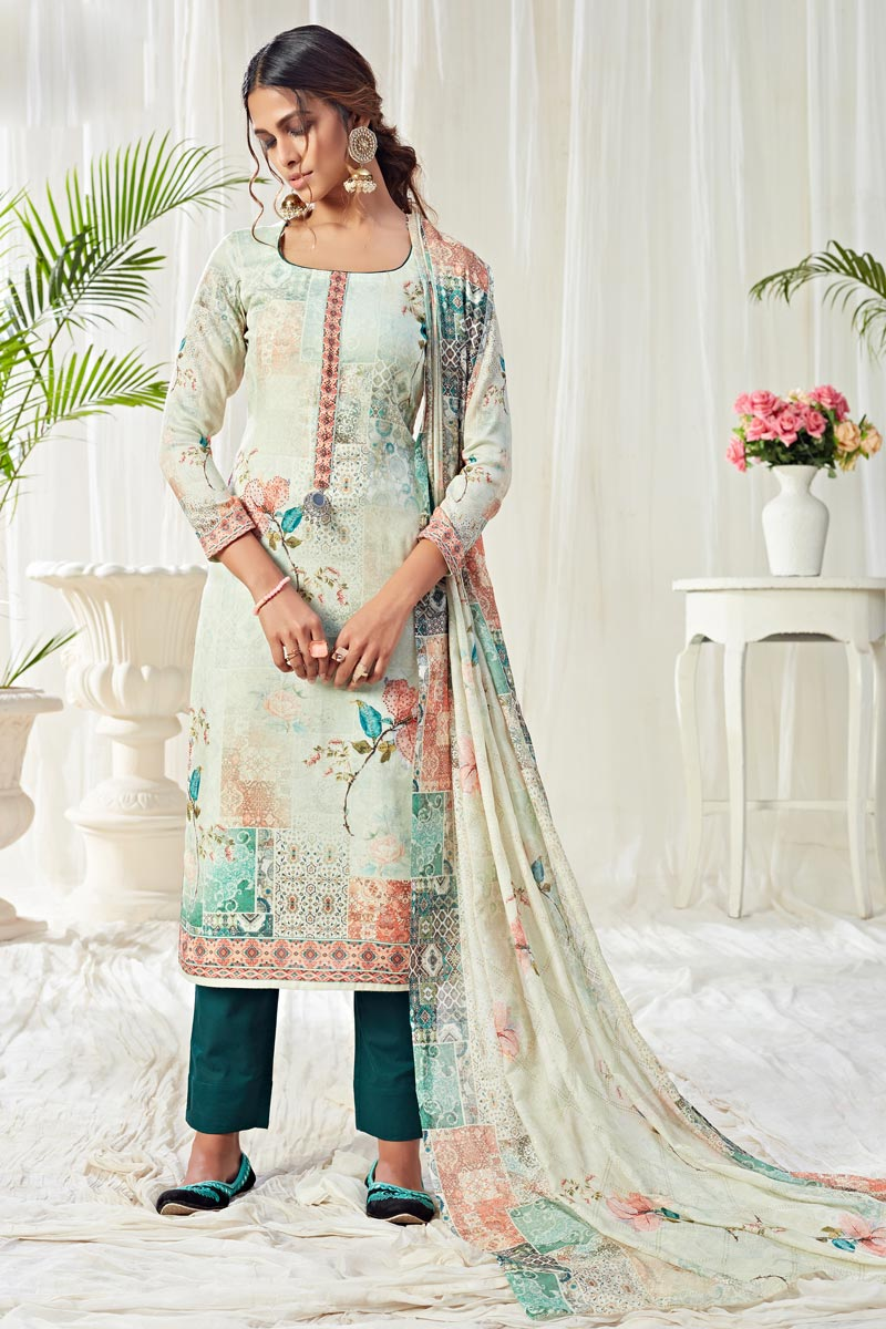 Casual Wear Cotton Fabric Classic Printed Straight Cut Suit In Light Cyan Color