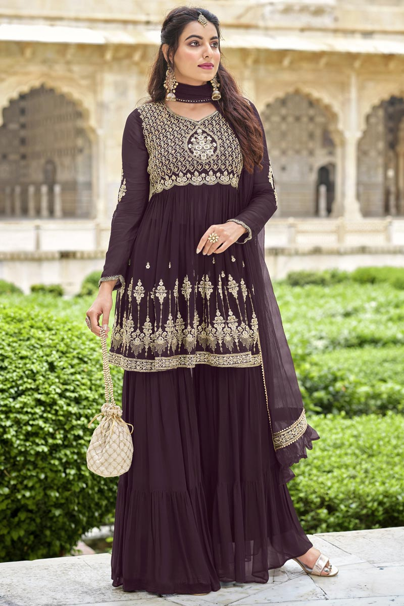 Function Wear Wine Color Trendy Embroidered Sharara Georgette Fabric Dress
