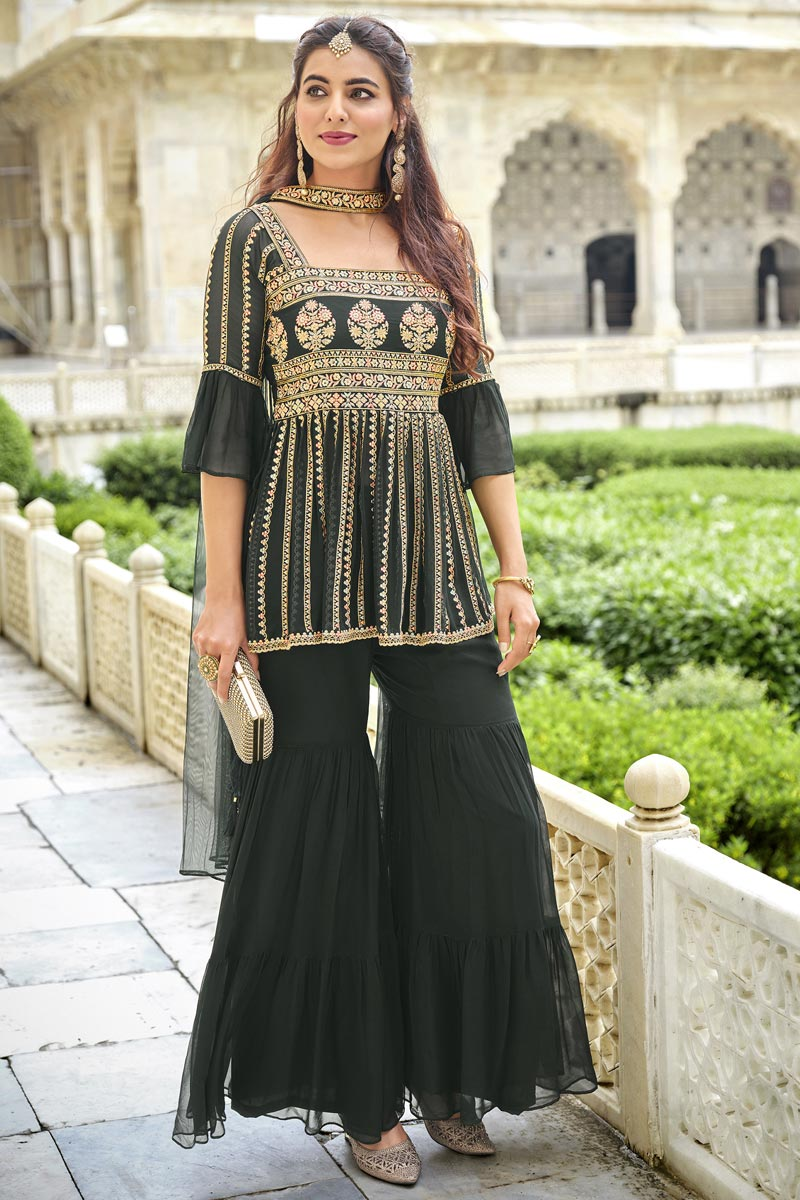 Function Wear Green Color Embroidered Trendy Sharara Suit In Georgette Fabric