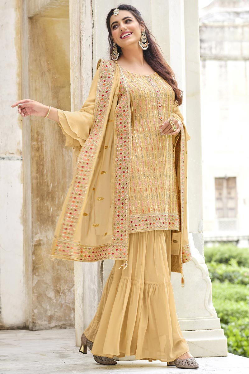Beige Color Function Wear Embroidered Trendy Georgette Fabric Sharara Dress