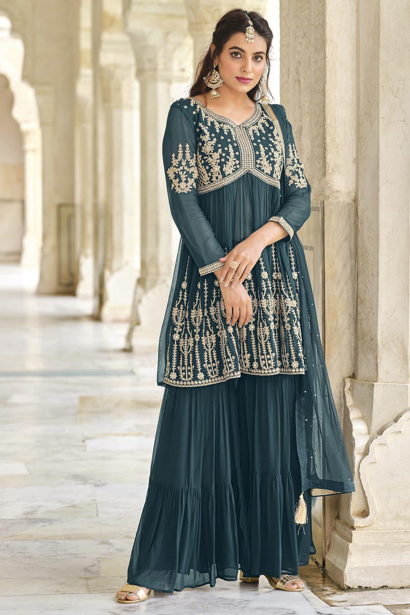 Teal Color Function Wear Trendy Embroidered Sharara Suit In Georgette Fabric