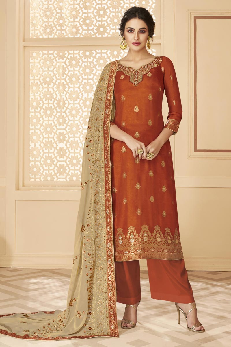 Jacquard Fabric Orange Color Function Wear Chic Embroidered Palazzo Suit