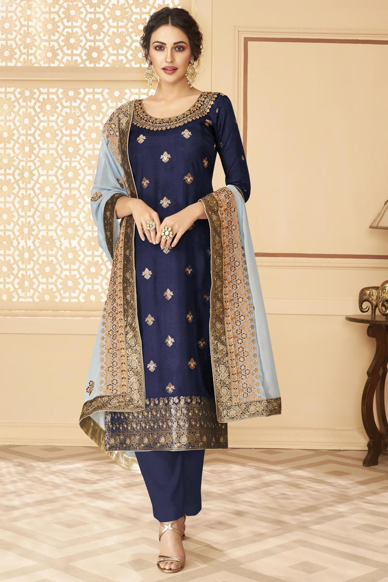 Function Wear Navy Blue Color Jacquard Fabric Chic Embroidered Palazzo Dress