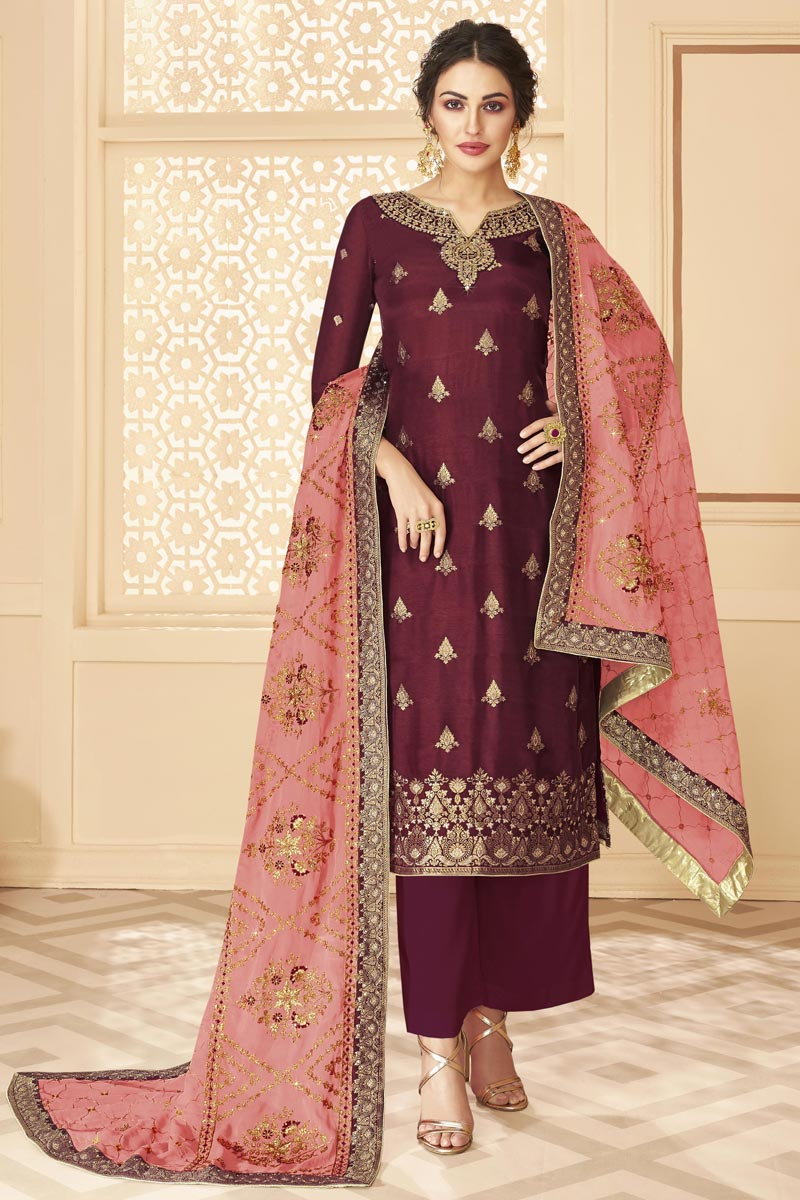 Function Wear Maroon Color Chic Embroidered Jacquard Fabric Palazzo Dress