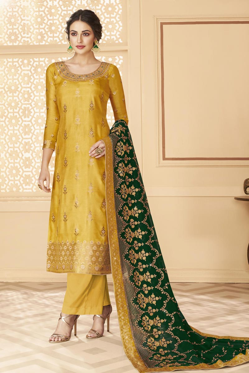 Function Wear Jacquard Fabric Chic Embroidered Palazzo Suit In Yellow Color