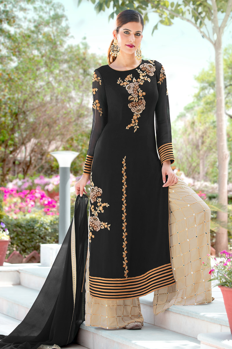 Festive Special Embroidery Work Black Party Wear Palazzo Suit In Georgette Fabric